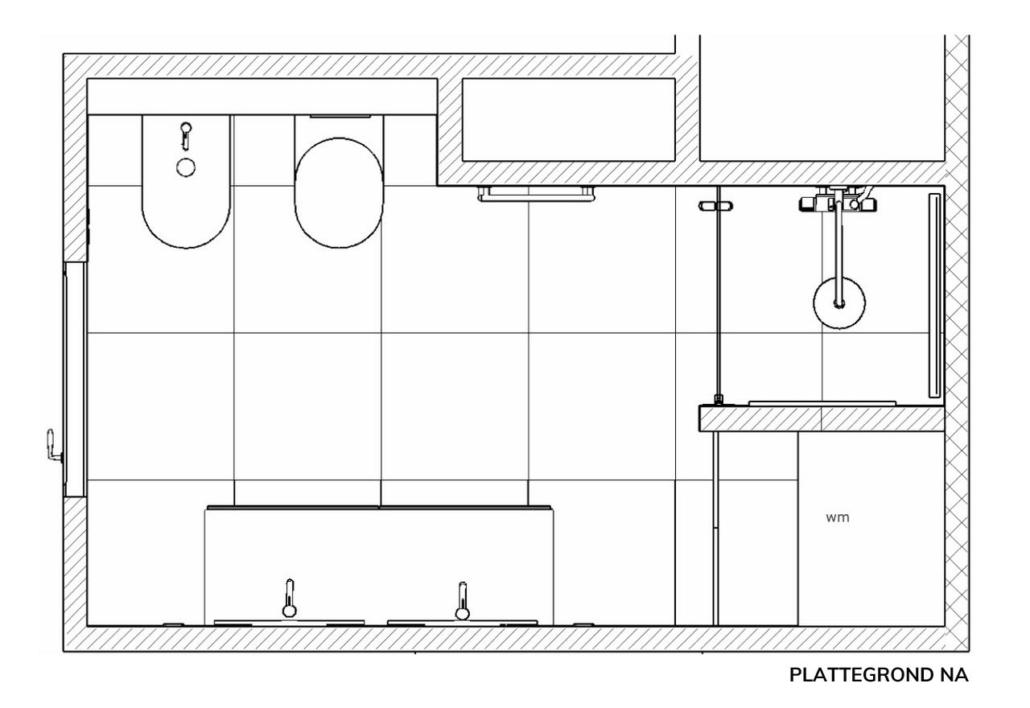badkamer ontwerp marmer plattegrond na