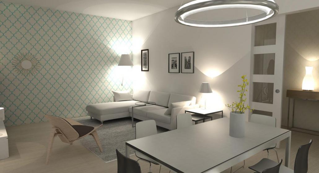 Modern Appartement Ontwerp Woonkamer