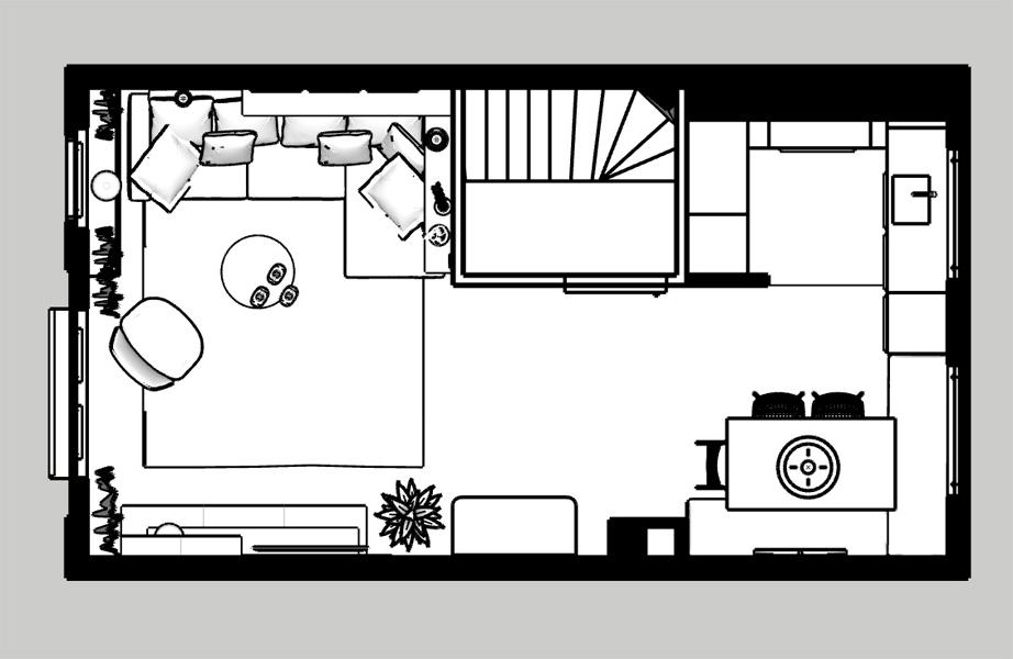 woonkamer ontwerp zee kleuren plattegrond