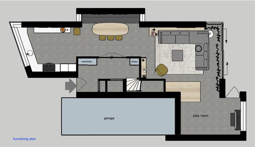 woonkamer open ontwerp plattegrond