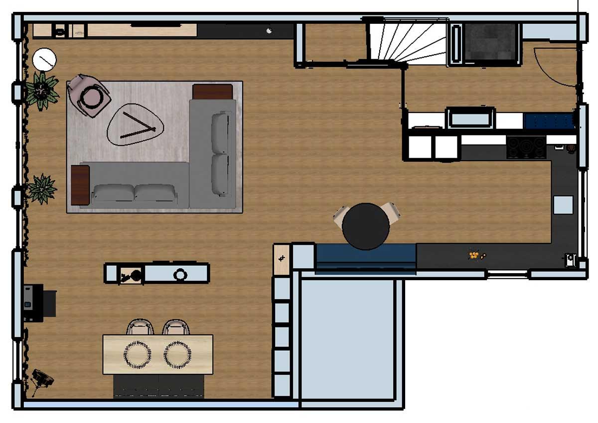 woonkamer verbouwing plattegrond