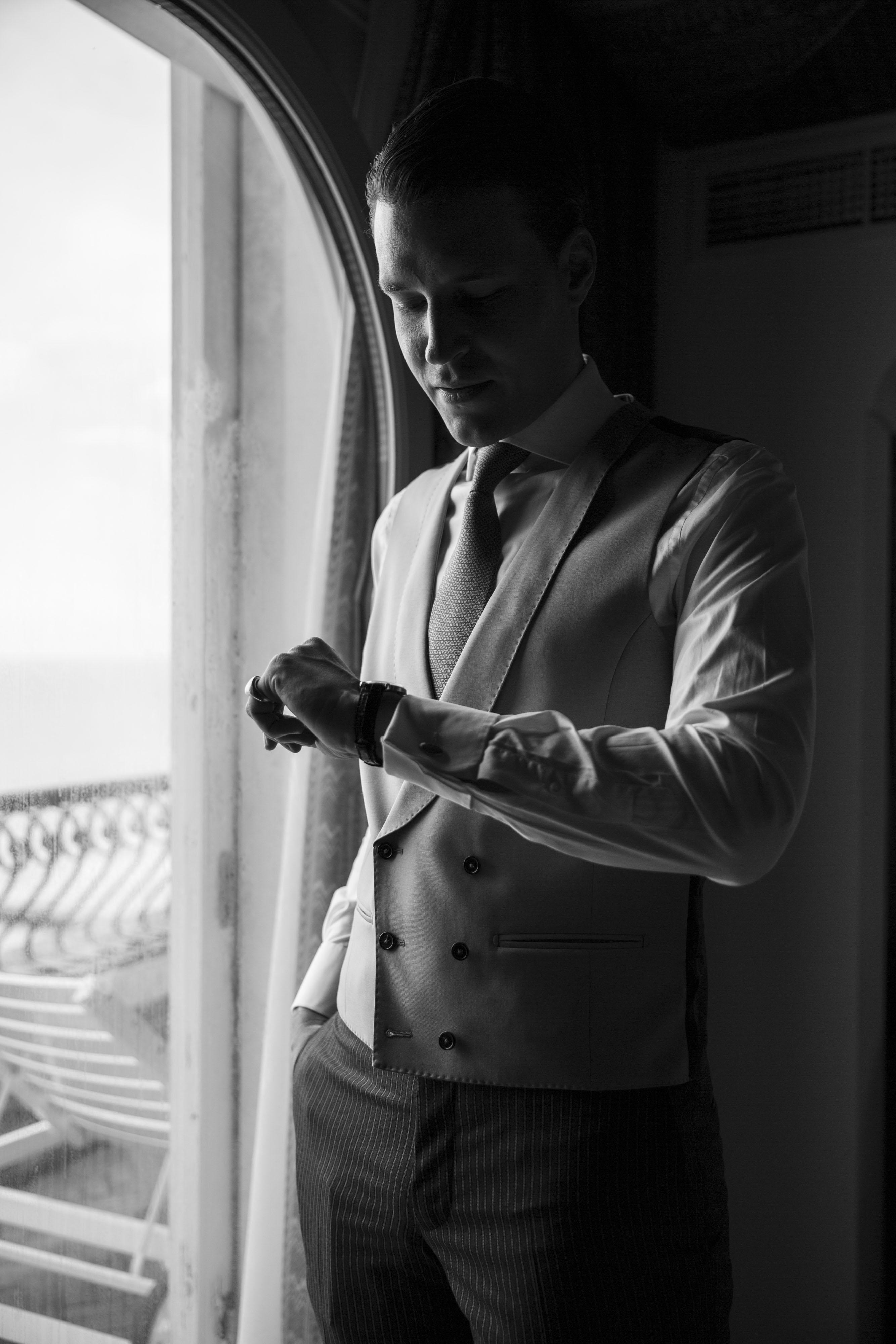 Hochzeit in Venedig , Lido di Venezia, Hotel Excelsior, Bräutigam portrait