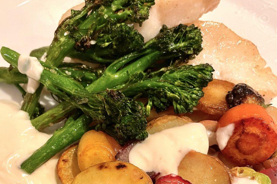 Skrei loni med grilla grønnsaker