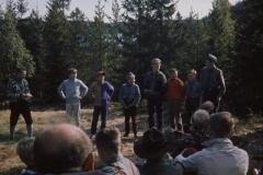 Speidere fra Egge fotografret på 1960-tallet.  På bildet ser vi blant andre troppsleder Kolbjørn Berg, og Gustav Danielsen, Terje Nervik, Knut Iversen, Lars Ivar Jensen og Asbjørn Størdal.