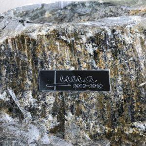 Foto naamplaatje op stenen urn voor huisdier close-up