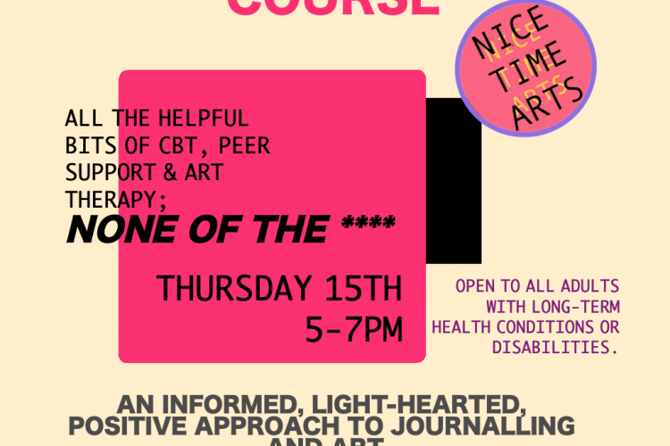 A light yellow background with bright pink square, pink and black text stating 'Art therapy, peer support and CBT without the - and then asterisks in place of a swearword. FART Journalling. Thursday 15th August at The Yard Theatre in Hulme.