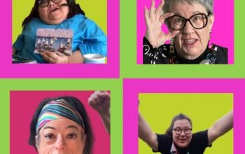 Image description - four portraits of disabled women. Top left is Mandy Colleran as Blanche. She is a white woman in her fifties wearing a blue top and a headset and mic for her zoom meeting. She is a wheelchair user. Top right is Vici Wreford-Sinnott who plays Raquelle. She is a white woman in her fifties with spiky blond hair. She is smiling and looking upwards. Liz Carr is bottom left who is a white woman in her forties, seated in her wheelchair, with a dark brown bob haircut, a stylish long striped scarf in her hair and she is wearing a black top. Bottom right is Bea Webster who is a mixed race woman of dual heritage, Thai and Scottish, with long brown hair and a black top. It says the word girls on it in mixed colurs. She has two arms raised as if she has won a race.