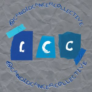 The background is crumpled grey paper. Three letters of C are collaged in the middle on top of blue paper in white paint. The circular design reads @candidcancercollective both above and underneath