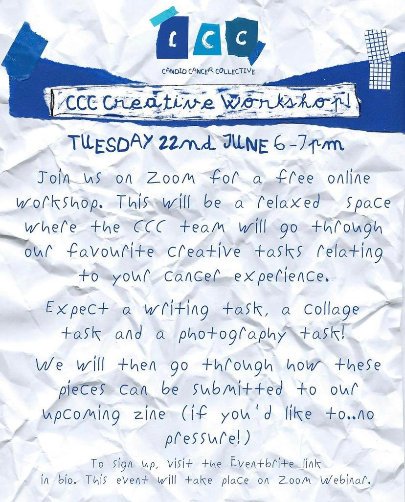 Free Online Creative Workshop with Candid Cancer Collective!