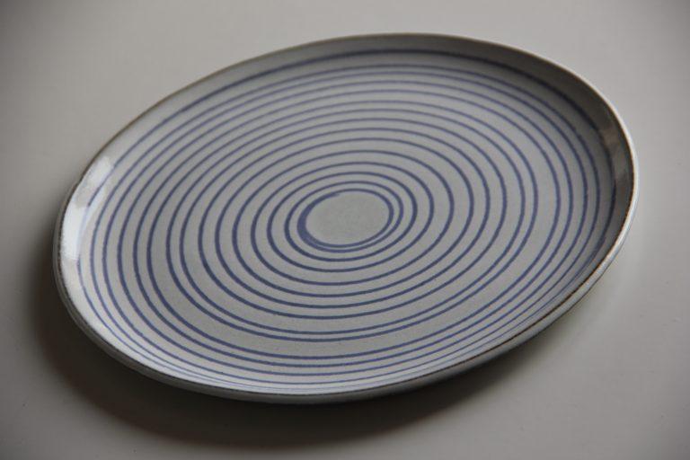Tallrik/assiette i blått och vitt