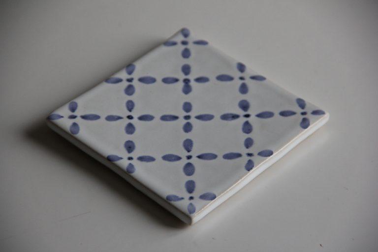 Kakel i blått och vitt