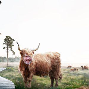 En photoshoppet version af By & Havns skønmaleriske visualiseringer af Lynetteholm, med projektets to ophavsmænd Frank Jensen og Lars Løkke, sat ind i deres ahrem, naturlige habitat.