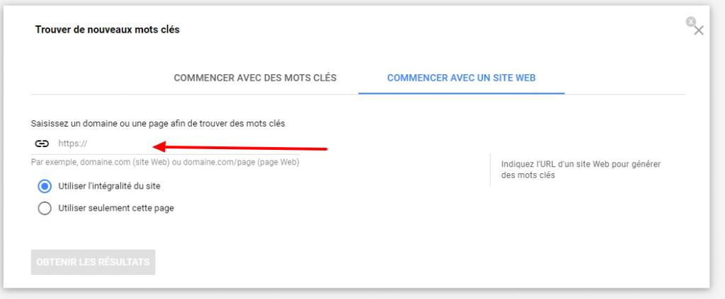 google keyword planner recherche par site internet