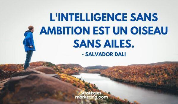 """citation motivation : """"L'intelligence sans ambition est un oiseau sans ailes."""" - Salvador Dali"""