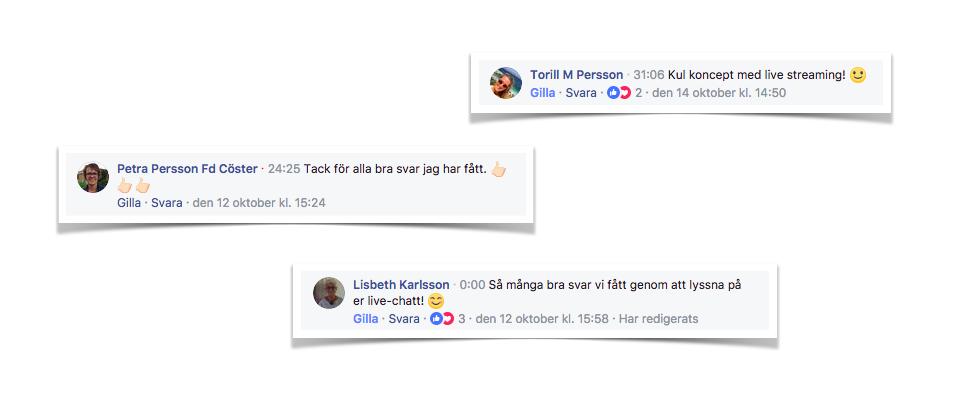 Många positiva kommentarer Apollo Facebook Live