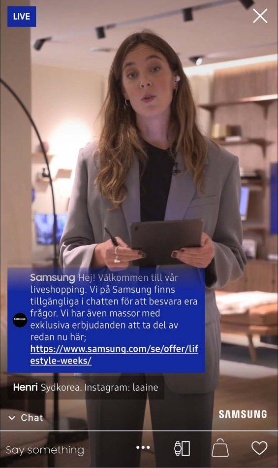 Sekvens från livesändningen för Samsung