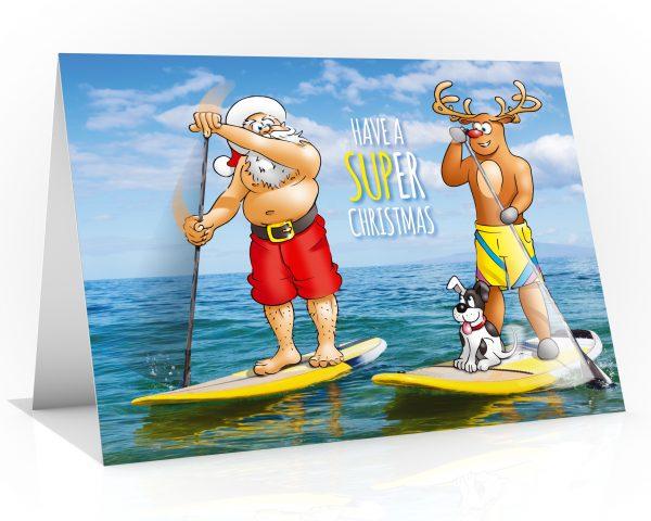 sup christmas card santa and rudolph paddling single card