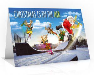 micro scooter christmas card santa jumping off ramp single card