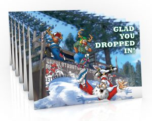 sakteboard christmas card santa in half pipe 6 card pack