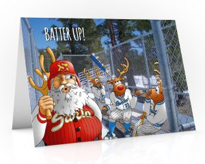 baseball christmas card santa stolen rudolphs antler single card