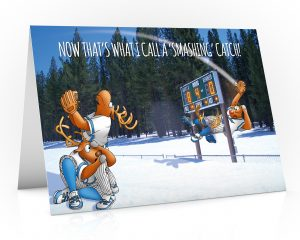 baseball christmas card with rudolph making a smashing catch single card