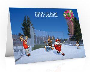 baseball christmas card with santa hitting present single card