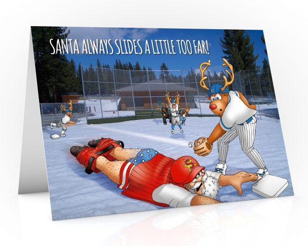 baseball christmas card santa sliding into base single card