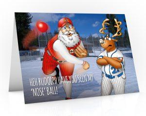 baseball christmas card with santa throwing rudolphs nose single card