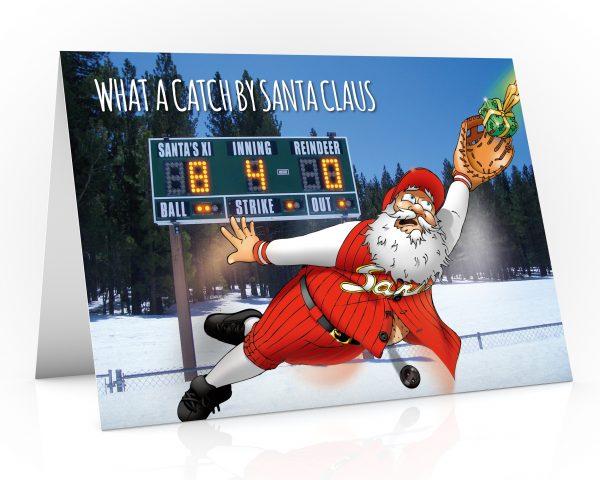 baseball christmas card with santa making a great catch single card