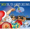 basketball christmas card santa doing a swish shot single card