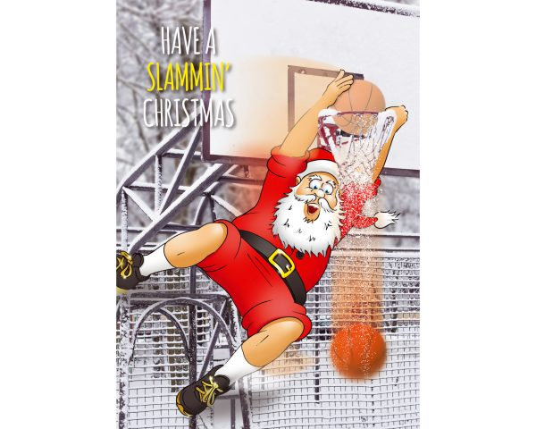 basketball christmas card santa slammin ball through ring single card