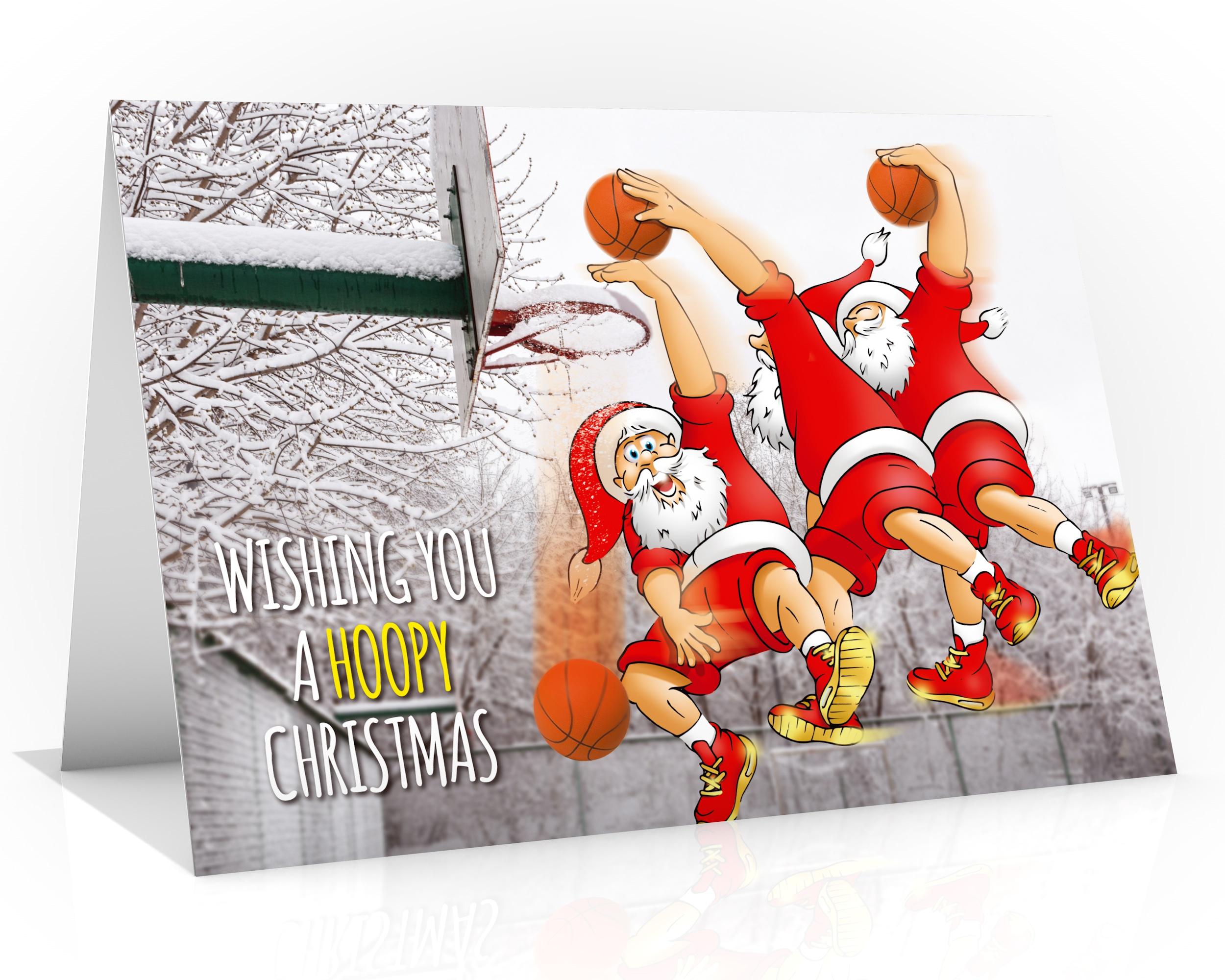 basketball christmas card santa doing a slam dunk single card