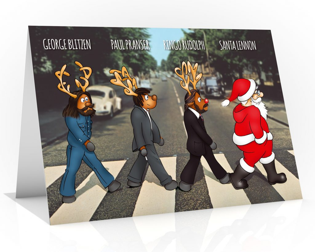 beatles christmas card parody of abbey road single card