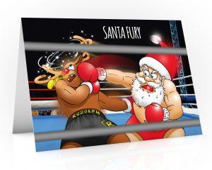 boxing christmas card santa fury knocking out rudolph single card