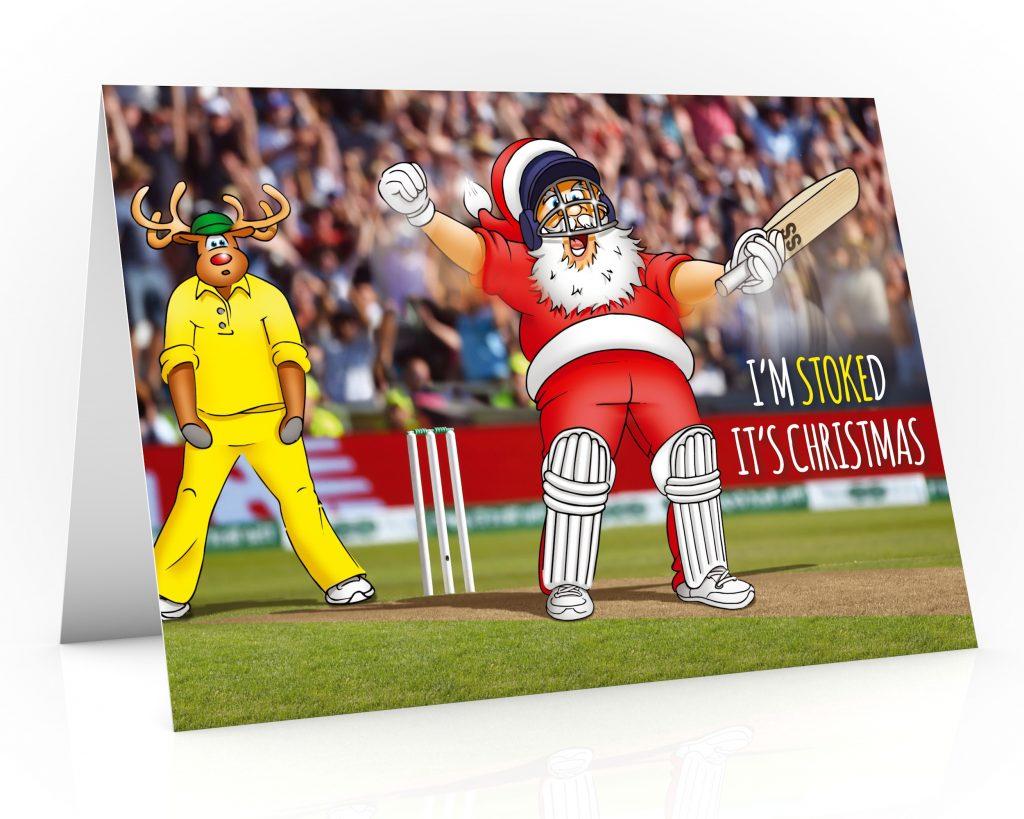 cricket christmas card with santa celebrating like ben stokes single card