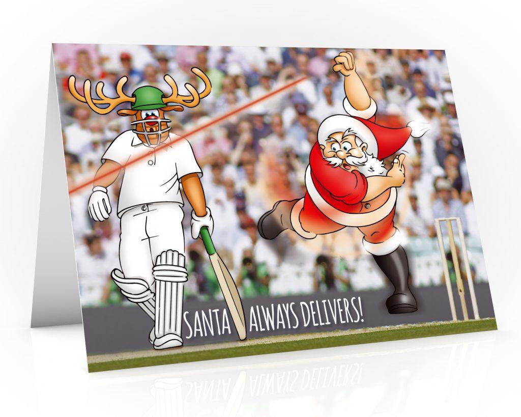 cricket christmas card with santa bowling single card
