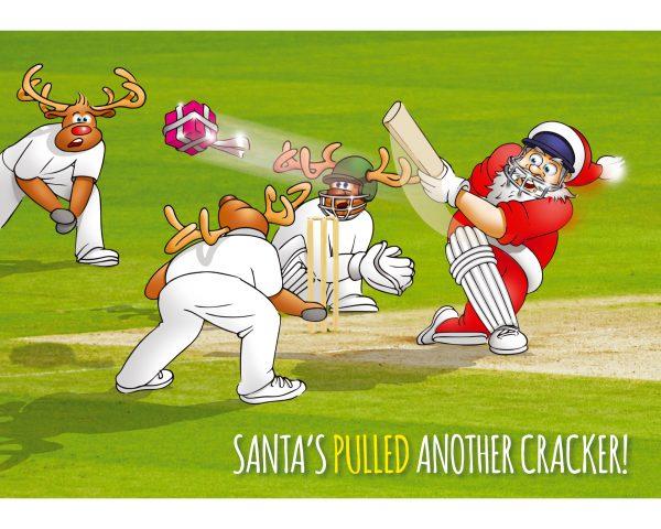 cricket christmas card santa hitting a present single card