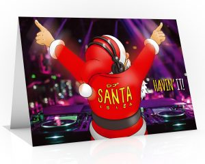 dj christmas card santa havin it in ibiza single card