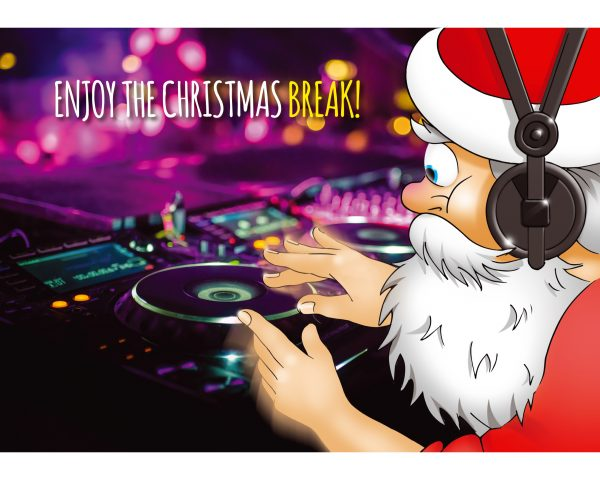 dj christmas card santa mixing on cdj single card