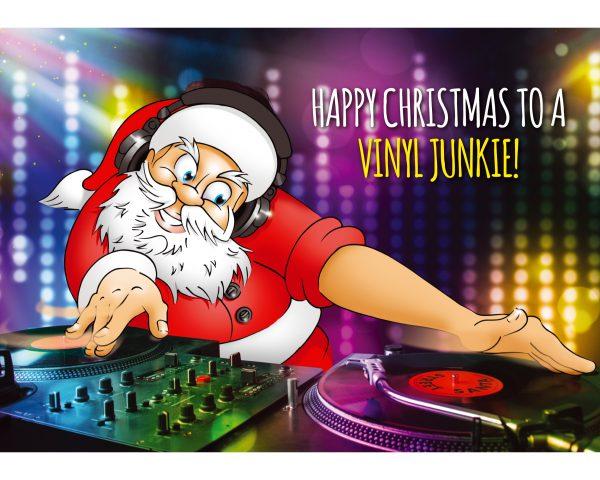 dj christmas card santa mixing vinyl single card