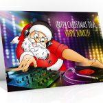 dj christmas card santa mixing on vinyl turntable single card