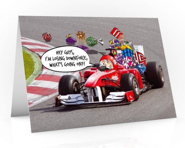 formula one christmas card santa is losing downforce single card