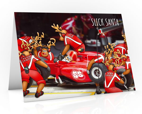 formula one christmas card pit stop slick tyres single card