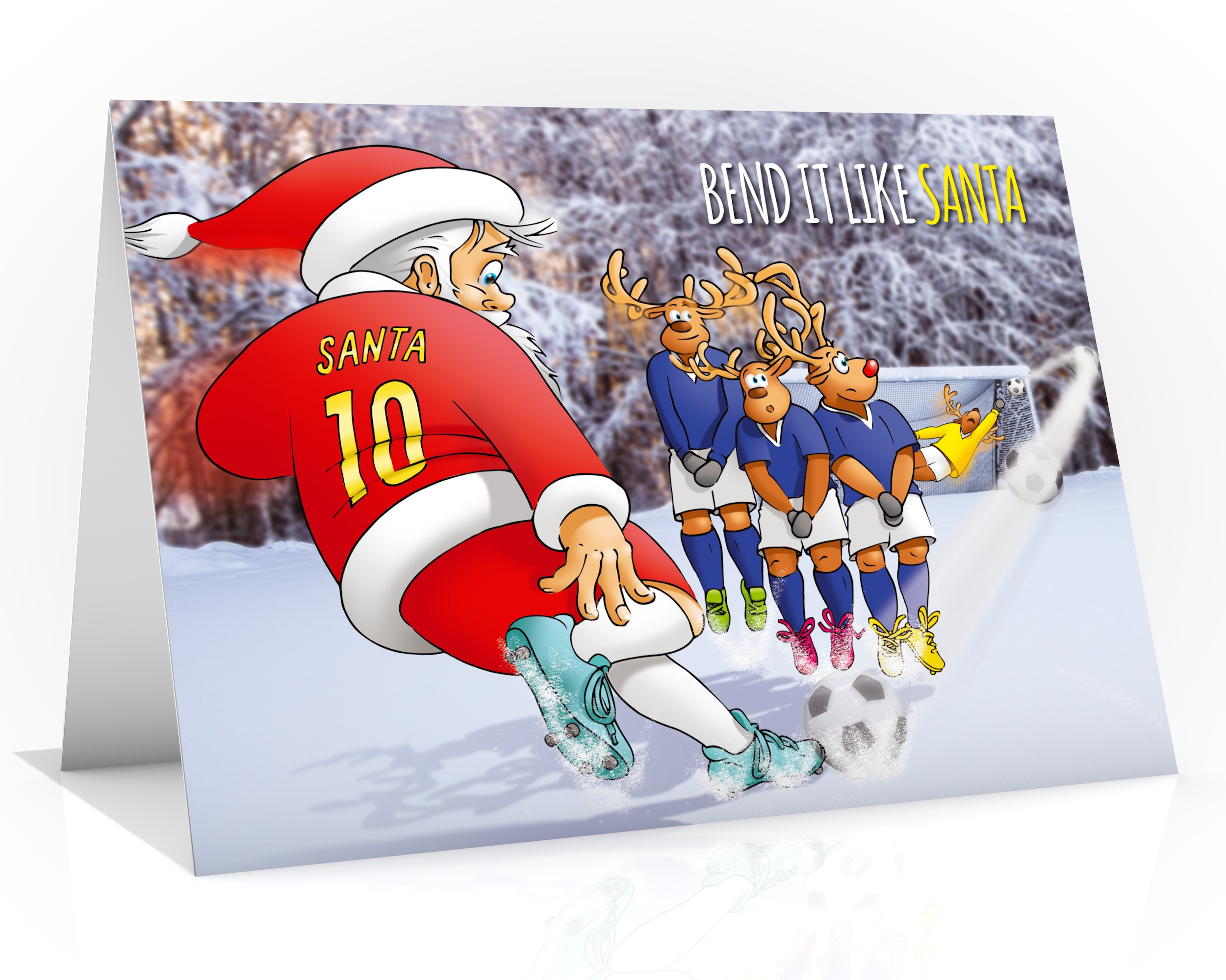 football christmas card bend it like santa single card