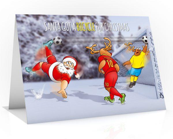 football christmas card santa bicycle kick single card