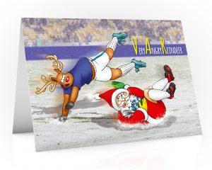 football christmas card santa goal keeper single card