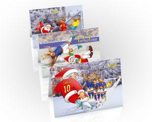 football christmas cards mixed 3 card pack