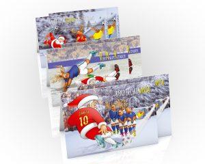football christmas cards mixed 6 card pack