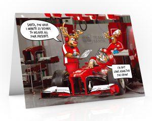 formula one christmas card lewis hamilton single card