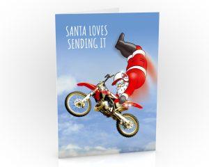 freestyle motocross christmas card fmx santa doing double hart attack single card